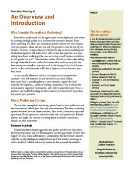 "Cover image of ""Farm-direct Marketing: An Overview and Introduction"""