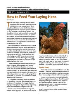 "Cover image of ""How to Feed Your Laying Hens"" publication"