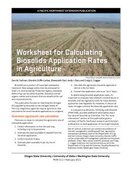 "Cover image of ""Worksheet for Calculating Biosolids Application Rates in Agriculture"" publication"
