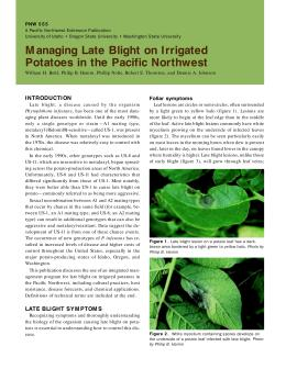 Image of Managing Late Blight on Irrigated Potatoes in the Pacific Northwest publication