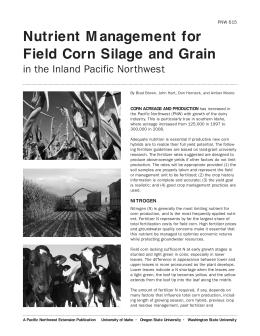 Image of Nutrient Management for Field Corn Silage and Grain in the Inland Pacific Northwest publication