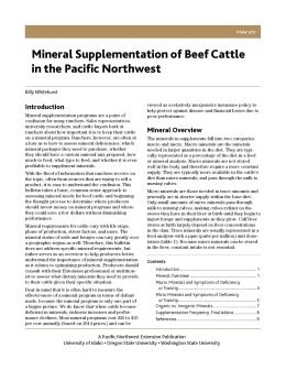 Cover for Mineral Supplementation of Beef Cattle