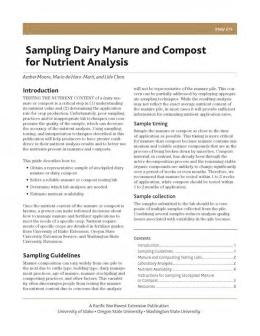 """Cover image of """"PNW 673 Sampling Dairy Manure and Compost  for Nutrient Analysis"""""""