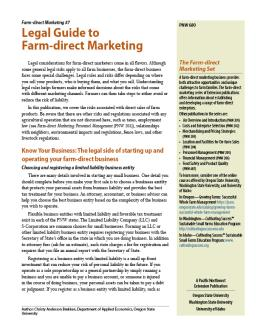 "Cover image of ""Farm-direct Marketing: Legal Guide to Farm-direct Marketing"""