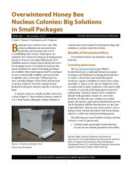This is the cover for PNW 682, Overwintered Honey Bee Nucleus Colonies