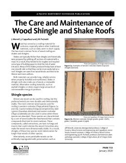 """Cover image of """"The Care and Maintenance of Wood Shingle and Shake Roofs"""" publication"""